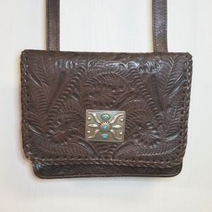 Leather Purse with turquoise brooch